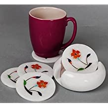 Elegant Set of 6 Handcrafted Marble Drink Coasters with a Holder by Store Indya