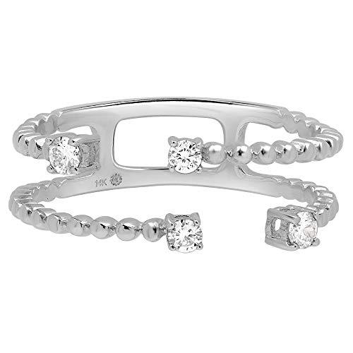 White Gold Diamond Ring | 0.18 Carats Diamond Band | Diamond Statement Ring | Gift for Engagement (Diamond Incrusted Ring)