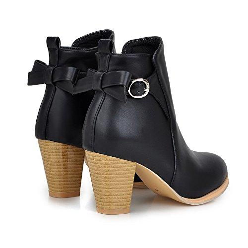 Heels Chunky Boots Imitated Buckle Platform Leather A Black Ladies amp;N qRwEnRtC