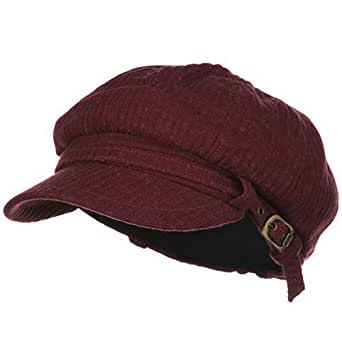 Ladies Fashion Knitted Wool Newsboy Hat - Wine