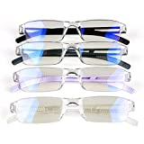 4 Pack Blue Light Blocking Glasses,Clear Vision Reading Glasses With Multi-Magnification,Daily Use For