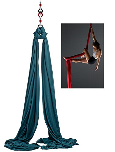 F.Life Aerial Silks For Aerial yoga Hommock Or Aerial Acrobatics (10 yards) with the Equipment ,Guide (Dark Green)