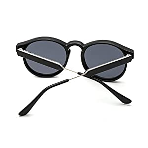 SUERTREE Vintage 80s Sunglasses Women Men Fashion Small Round Sun Glasses Classic Shades Cute Eyewear Retro Eyeglasses Half Metal Arms Rimmed UV400 Protection for Travel Black Frame Gray