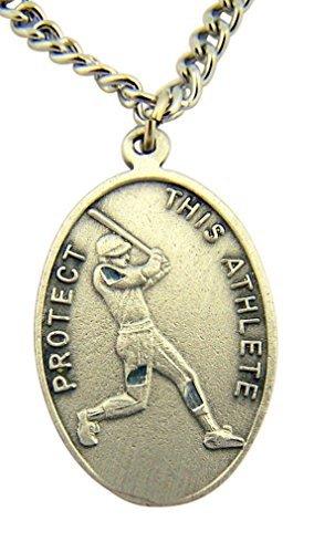 WJH Silver Tone Patron of Sports Saint Sebastian Baseball Athlete Medal, 1 Inch