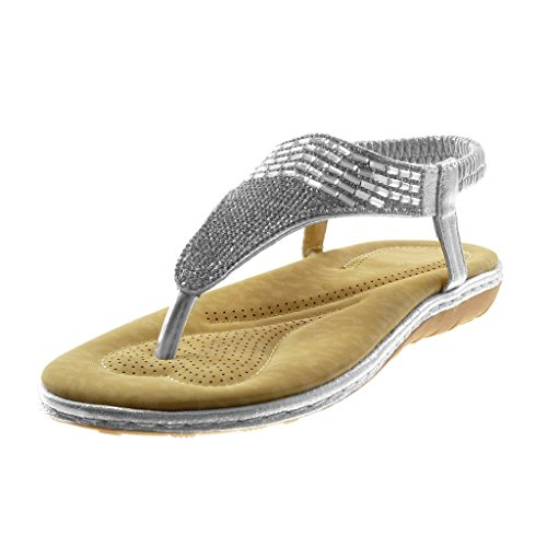 Angkorly Women's Fashion Shoes Sandals Flip-Flops - Slip-On - t-Bar - Ankle Strap - Rhinestone - Jewelry - Shiny Flat Heel 2.5 cm Silver