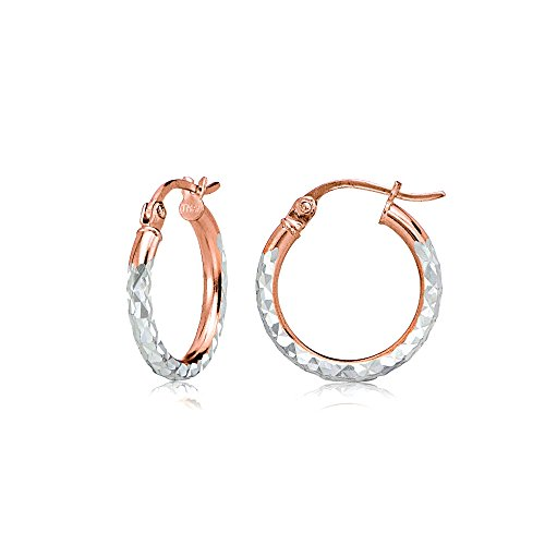 Rose Gold Flash Sterling Silver Two-Tone 2mm Diamond-Cut Round Hoop Earrings, 15mm
