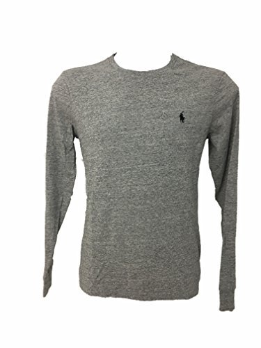 Polo Ralph Lauren Mens Custom Fit Crew T-shirt Long Sleeve (Large, Polo Dark Vintage Gray)