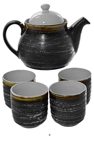 5 Piece Stoneware Japanese Textured Black Ceramic Art Tea Set Teapot with Infuser ()