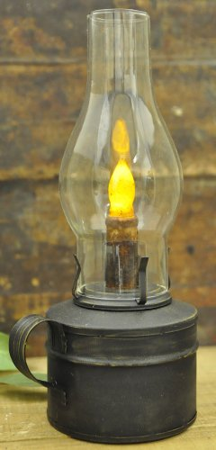 Primitive Decor Oil Barn Lantern With Timer Candle in Rustic Black Finish