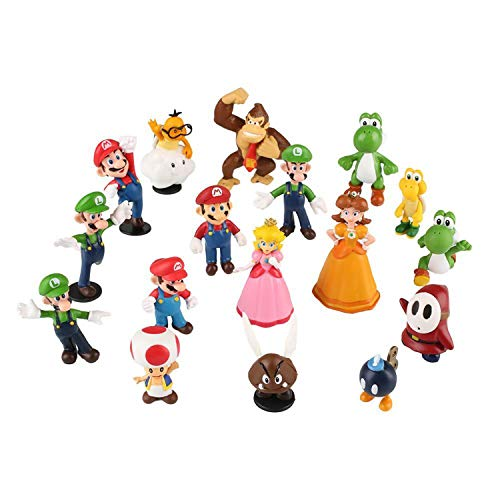 - 18pcs/Set Piece Super Mario Bros Super Mary Princess, Turtle, Mushroom, Orangutan, Super Mary Action Figures,1.2