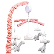 Uptown Girl Grey Giraffe and Clouds Musical Mobile by The Peanut Shell