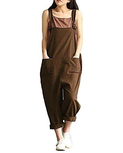 Lncropo Women Plus Size Baggy Overalls Casual Wide Leg Haren Pants Rompers Jumpsuit Overalls Halloween Costume (4XL, Coffee)