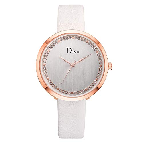 (LUXISDE Watch Women Luxury Temperament Lady Slender Belt Watch Analog Rhinestone Quartz Watch White)