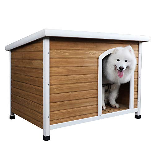 Cheap Petsfit Wooden Dog House, Dog House Outdoor Yellow, Large 45.5″ x 27.5″ x 32.2″