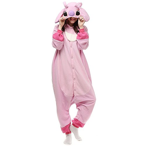Lazutom Unisex Adult Cosplay Costume Onesie Fancy Dress Costume Hoodies Pajamas Outfit for Christmas Halloween Carnival (M, Lilo and Stitch Pink)