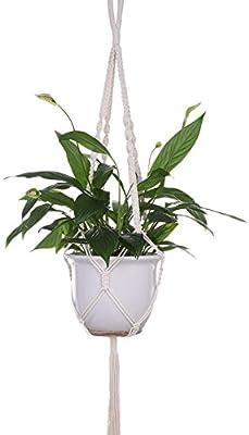 FAStar 39,3/35.4 inches algodón cuerda gancho flor maceta plantas soporte perchas para interior y exterior Plant colgante, A:100cm, A:100cm: Amazon.es: Hogar