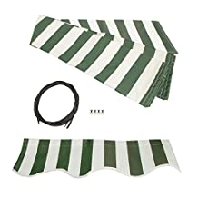 ALEKO® Awning Fabric Replacement 20x10 Feet for Retractable Awning Green/White Stripes