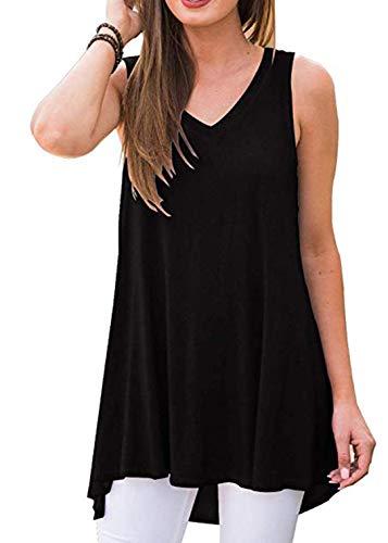 Muzniuer Women's Backless V-Neck T-Shirt Tunic Tops Long Tank Tunics Casual Shirts Basic Pajama Tank Tops Maternity Tunic Tank Hi-Low Tank Shirts Open Back Blouse Shirts -