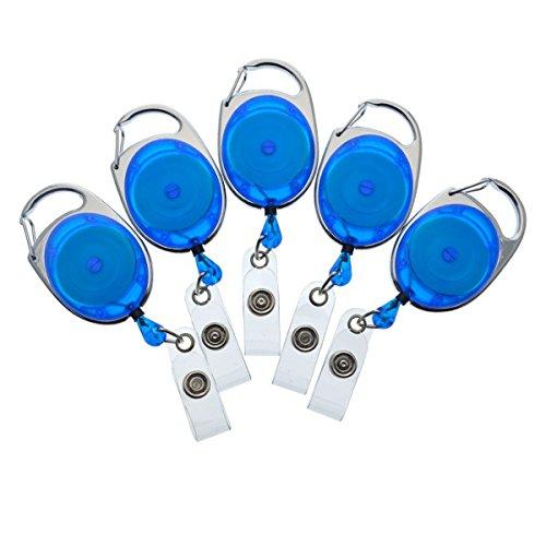 Bulk 100 Pack - Specialist ID Premium Carabiner Clip Badge Reels - Retractable I.D. Card Holders (Royal Blue)