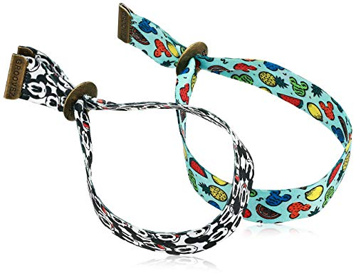 Disney Unisex Mickey Mouse & Friends Adult Groovez Bracelet Duo in Black & White and Multi-Color
