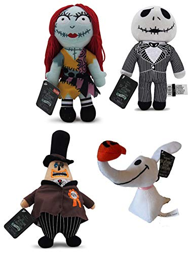 NBXMS 4 Nightmare Before Christmas Jack & Sally Plush Doll & Zero Ghost Dog + Mayor of Halloweentown Stuffed Character ()