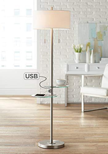 Possini Euro Concierge Double Tray Floor Lamp with USB