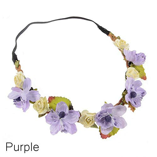Flower Garland Crown Headband Baby Hairband Floral Leaves Photography Props (Color - Purple)