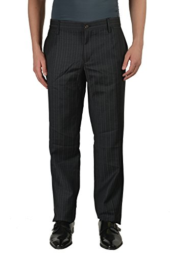Dolce & Gabbbana 100% Wool Gray Striped Flat Front Men's Dress Pants US 40 IT 56