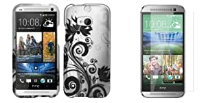 HTC One M8 - Black Orchid Vines on Silver Design Case + Atom LED Keychain Light + Screen Protector