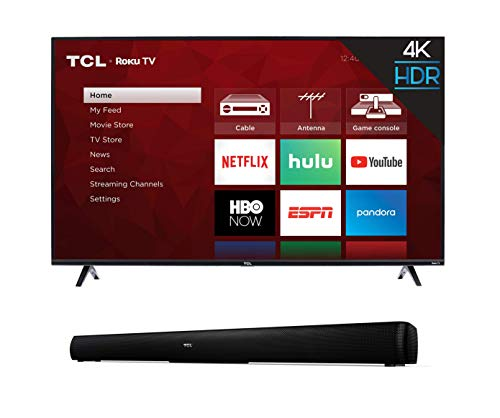 TCL 43S425 43 Inch 4K Ultra HD Smart Roku LED TV (2018) with TCL Alto 5 2.0 Channel Home Theater Sound Bar - TS5000