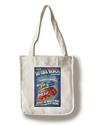 Daytona Beach, Florida - Racecar Scene (100% Cotton Tote Bag - - Beach Shopping Florida Daytona