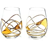 ANTONI BARCELONA Stemless Gold Wine Glass 21 OZ - SET 2 - Unique Hand Made and Hand Painted 24Kt Gold