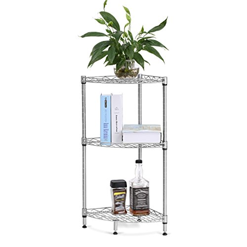 LANGRIA 3-Tire Corner Wire Shelf Bathroom Corner Shelf Bookcase, Free Standing Corner Storage Rack Display Tier Shelf for Kitchen Office,Silver (Tall Metal Shelves Narrow)