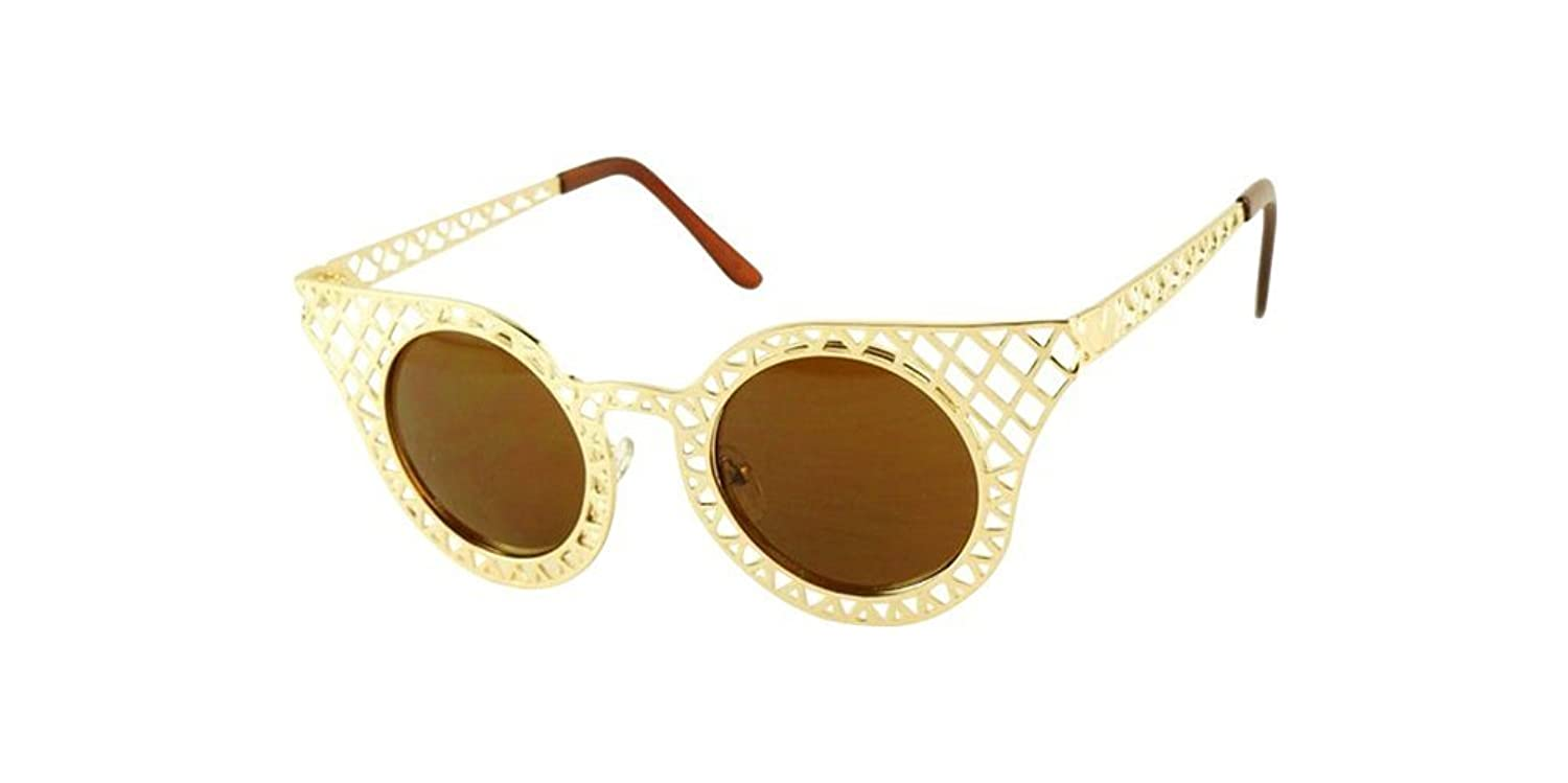 Gold Vintage Women Sunglass Retro Fashion Lace Hollow Metal Frame Glass Eyeglass