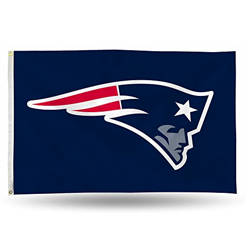Rico NFL New England Patriots 3-Foot by 5-Foot Single Sided Banner Flag with Grommets