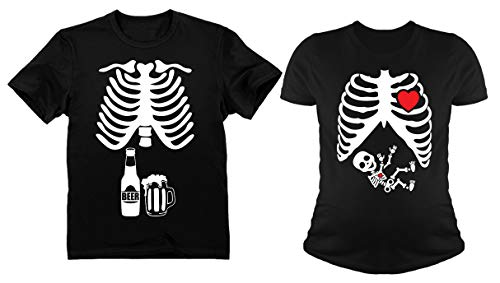 (Halloween Skeleton Maternity Shirt Baby Boy X-Ray Matching Couples Set Beer Tee Dad Black Large/Mom Black)