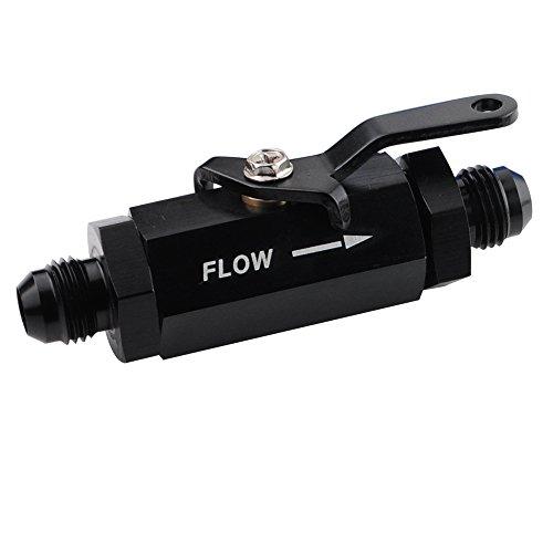 -10 AN Male Flare Aluminum Inline Fuel Shut Off Valve Flow Control Cut Off w/Cable Lever, Black -10AN(7/8