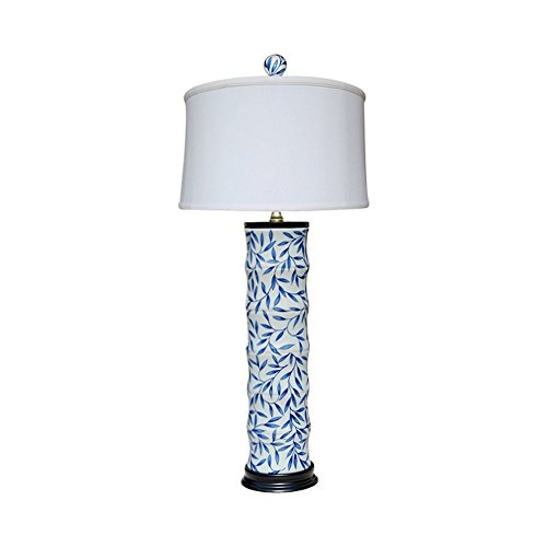 Blue and White Bamboo Floral Bamboo Style Porcelain Vase Table Lamp - Lamp Porcelain Bamboo Table