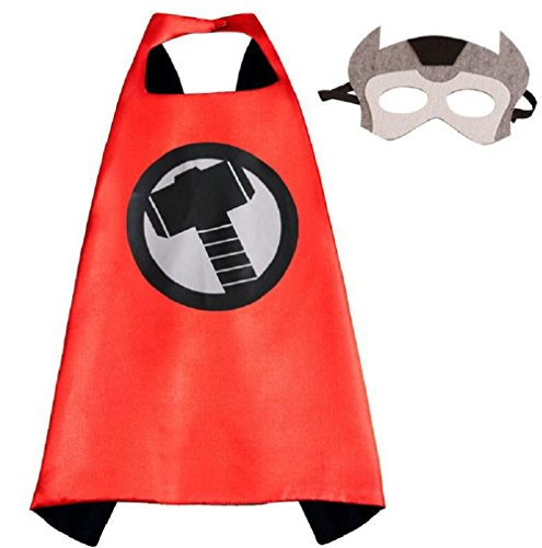 Superhero Thor Cape and Mask Costume Set for Boys Kids Age 2-10 Dress up Birthday Party Halloween (Thor Costumes Kid)
