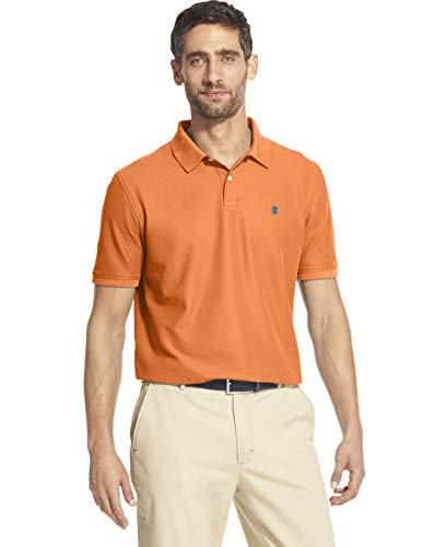 IZOD Men's Slim Fit Advantage Performance Short Sleeve Solid Polo, Deep Melon S2019, Large