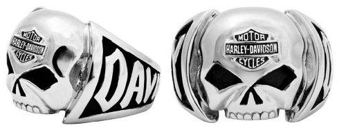 Harley-Davidson Men's Skull Ring Stainless Steel HSR0004 ()