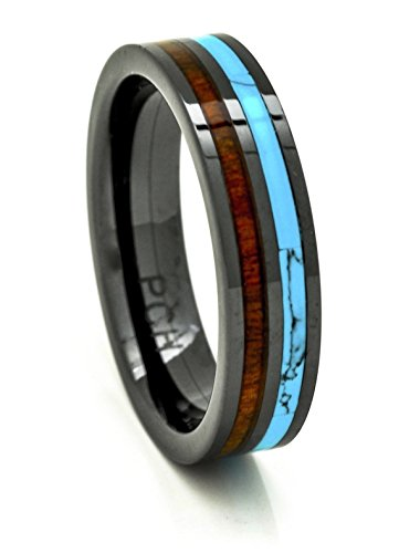 PCH Jewelers Mens Womens Koa Wood Wedding Band with Turquoise 6mm Flat Top Black Ceramic Size 6 to 15 (10)