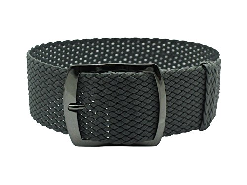 HNS 22mm Dark Grey Perlon Tropic Braided Woven Watch Strap with PVD Buckle