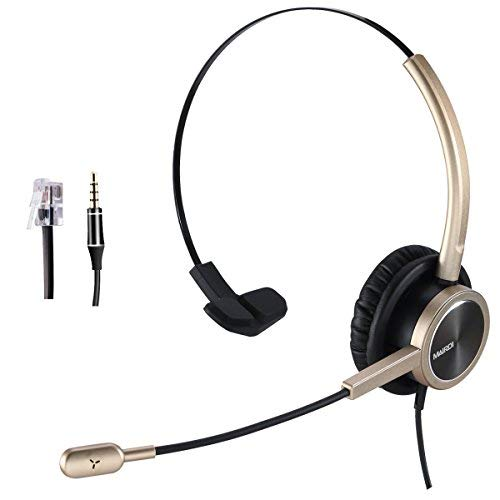 5ade7b28558c Phone Headset RJ9 for Office Call Center with Noise Cancelling Mic with  Extra 3.5mm Connetor for Mobiles Compatible with Avaya Nortel Aastra  Toshiba ...