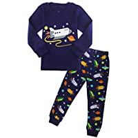 ZFBOZS Boys Pajamas Toddler PJs Sets 100% Cotton Long Sleeve Vehicles Sleepwear Size 3-8 Years