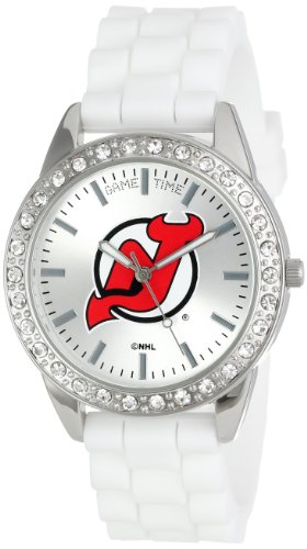 Game Time Women's Frost NHL Series' Quartz Metal and Silicone Casual Watch, Color:White (Model FRO-NJ)
