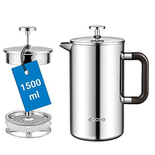 ecooe Cafetera de Prensa Francesa de Acero Inoxidable 1500ml / 50 oz Hogar, Oficina y Más
