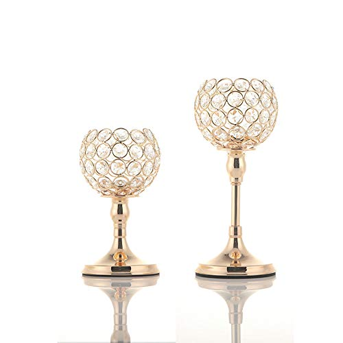 VINCIGANT Gold Crystal Candle Holders Set of 2/Modern Wedding Table Decorative Centerpieces/Anniversary Celebration Home Dining Room Decor Gifts,8 and 10 Inches Tall