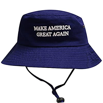 Bd2024 Trump Slogan Make America Great Again Bucket Hat with String Navy