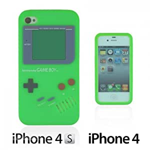 OnlineBestDigital - Gameboy Style Silicone Case for Apple iPhone 4S / Apple iPhone 4 - Green with 3 Screen Protectors